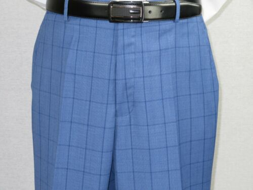 Men MANTONI Suit 100/% Wool Two Button Regular Fit Window Pane plaid M8718-1 blue