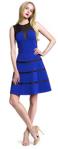 295 New Sz.4 Erin by Erin Fetherston 'Hannah' Fit & Flare bluee Dress