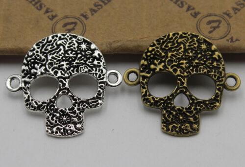 Wholesale 10//30pcs Retro style  skull bracelet DIY Alloy Connectors 32x30mm