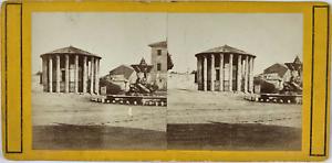 Stéréo, Italie, Rome, temple Vesta Vintage stereo card,  Tirage albuminé  8,