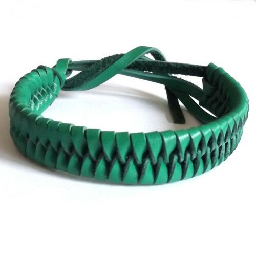 GREEN REAL LEATHER ADJUSTABLE FRIENDSHIP BRACELET WRISTBAND TIE ON STRAP