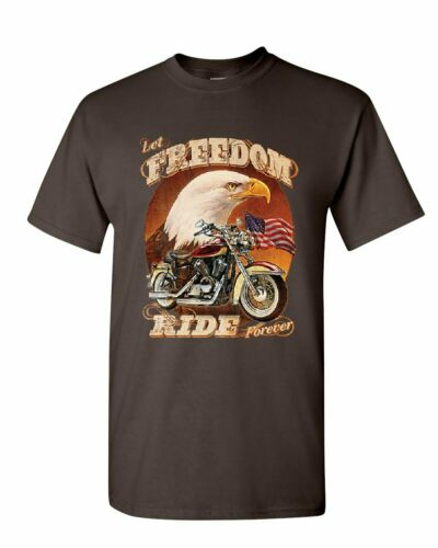 Let Freedom Ride Forever T-Shirt Biker American Flag Bald Eagle Mens Tee Shirt