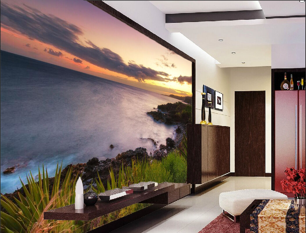 3D Sea stone sunset sky Wall Paper Wall Print Decal Wall Deco Indoor wall Mural