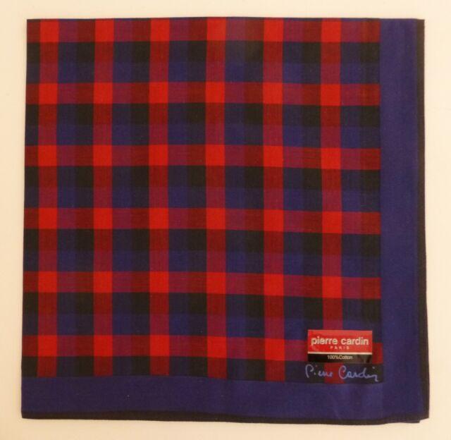 Pierre Cardin Elite Men's Handkerchief blue and red check brand new