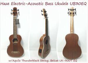 Haze Electric-Acoustic Bass Ukulele w/Aquila Thunderblack String |HA-UB30EQ|
