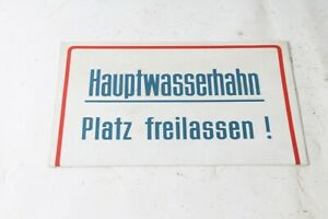 Old Shield Warning Sign Hauptwasserhahn Square Freihalten 30,1cm x 19,8cm