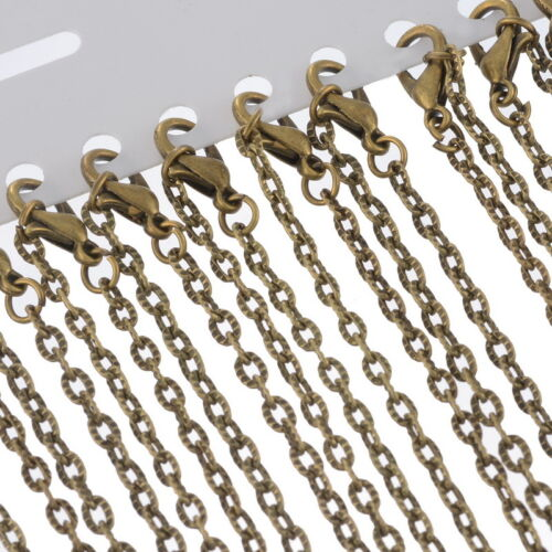 """12 Bronze Tone Textured Chain Necklace 0.8mm thick 24/"""""""