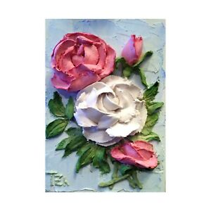 Details about Roses Pink White Sculptural painting Floral still life 5X7  inches