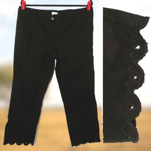 BKE-Casuals-Payton-Cropped-Pants-Scallop-Hem-Black-Size-32