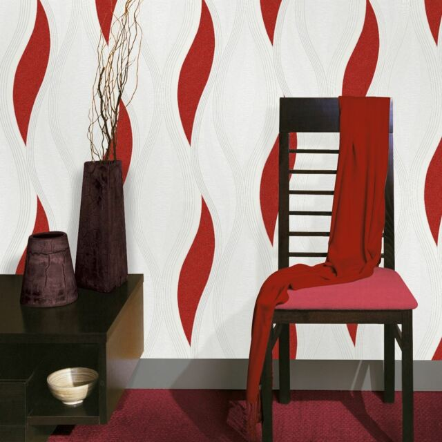 WAVE EMBOSSED TEXTURED WALLPAPER - RED - E62010 UGEPA NEW