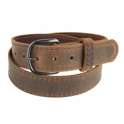 "GM145/_Buffalo Leather Belt/_1 1//4/"" Stitched Belt/_Gun Metal Buckle/_Amish Handmade"