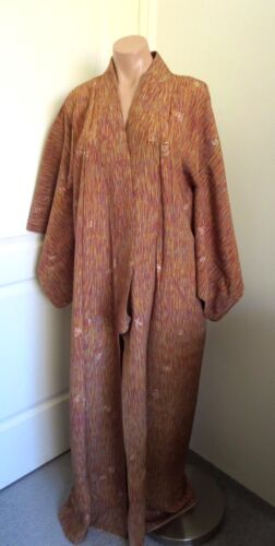 JAPANESE VINTAGE BROWN FLORAL FULL LENGTH KIMONO