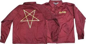 cd0505b9676b Image is loading THRASHER-PENTAGRAM-COACH-JACKET-MAROON-GOLD