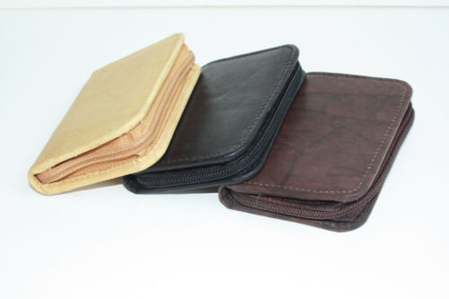 Leather Men Bifold Wallet Zip Around ID Business Credit 16-32 Cards Nice