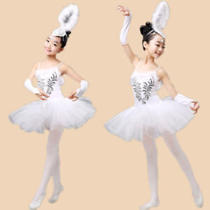ddbf83661 Kid Girls Tutu Ballet Leotard Dance Dress Swan Ballerina Fairy ...