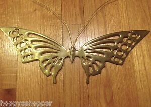 Large-15x5-034-Brass-Butterfly-Wall-Decor-Vintage-India