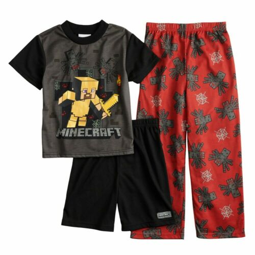 NEW Minecraft Pajamas Size 8,10,12 Boys Steve Spider 3 Pc Set Shirt,Shorts,Pants