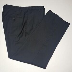 8cc4a628fe Details about Men's Z Zegna Black Micro Check Flat Front Wool Pants Size 34  x 28