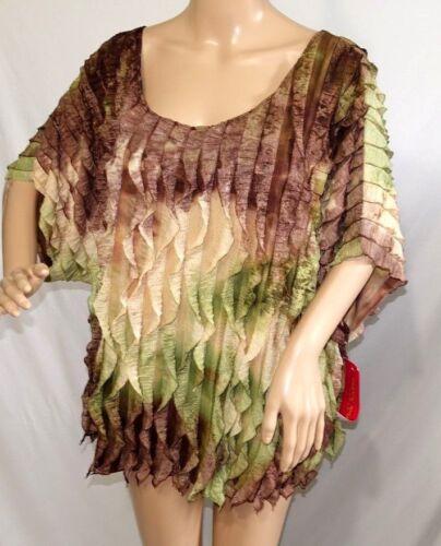 Sunny Leigh Women Plus Size 1X 2X 3X Tie Dye Print Ruffle Top Blouse Shirt Green