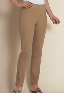 Para Mujer Marron Camellos Soft Surroundings Snap Leggings Pantalones Modernos Medio Metro Up Ebay