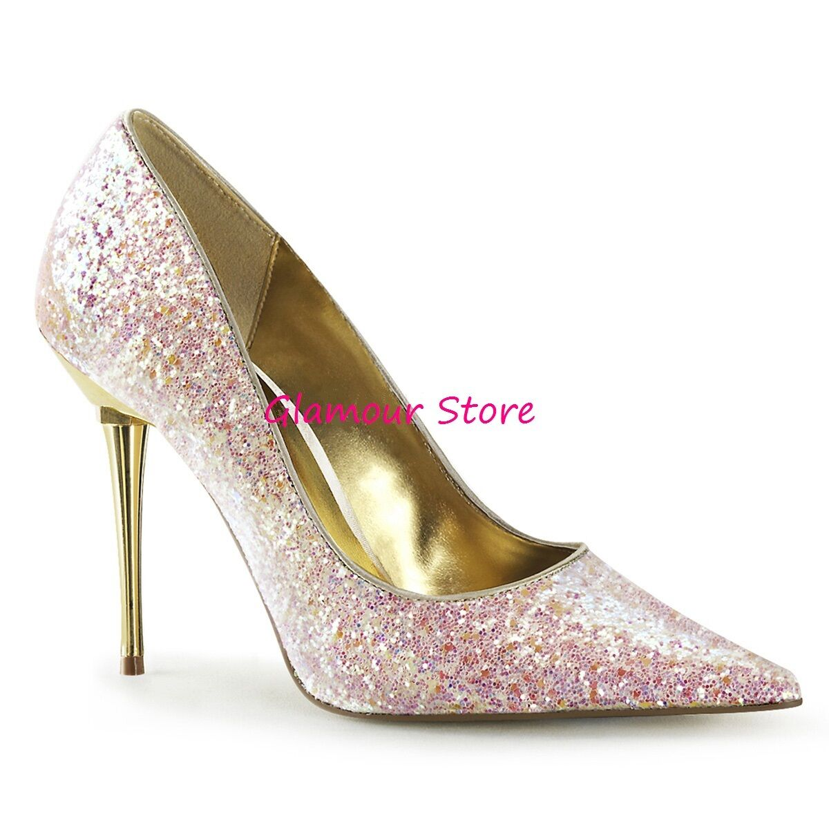 Descuento barato Sexy DECOLTE' ROSA GLITTER a PUNTA tacco 10 metal dal 35 a 46 scarpe GLAMOUR