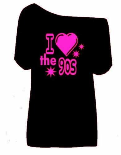 """Donna/"""" 80s 70s 60s 90s fuori la spalla HOT Retro Donna T Shirts Tg Xs A 5X"""