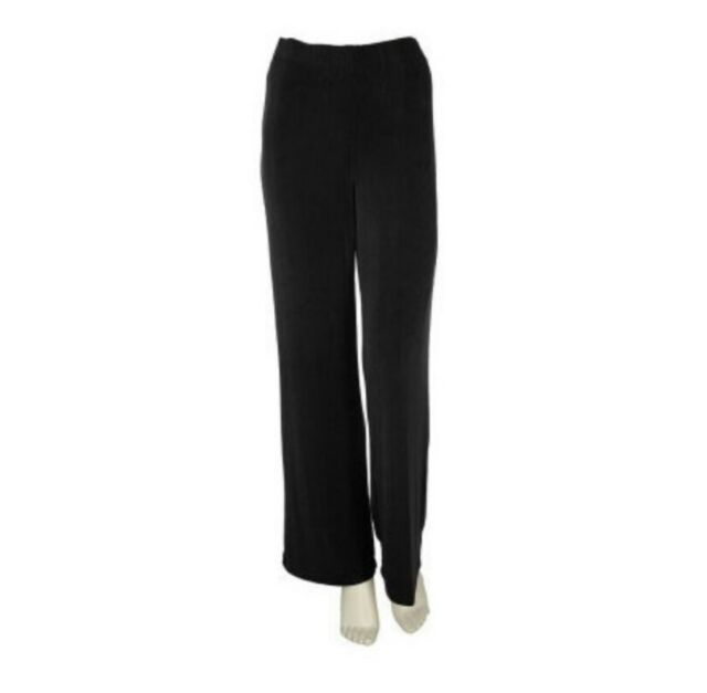 Effortless Style By Citiknits Slinky/Travel Knit Black Pants Elastic Waist M