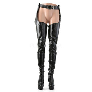 5000 Stretch Black Matte Belted Chap Thigh Crotch Boots 6