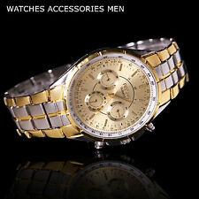 Luxueuse Montre Pour Homme Gold Classique Stainless Steel Analogue Quartz