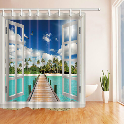 "71/"" Waterproof Shower Curtain Bathroom home decor Windows and coconut trees"