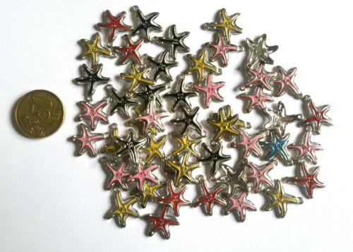 Métal Lot de 25 Pendentifs Etoile Multicolore