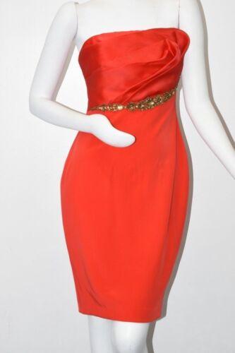 10 Kristalle Silk Marchesa Rote Dress Notte Strapless mit New Kristallen Cocktail I6vqwB0xx