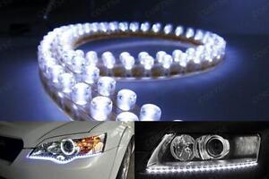 2x-Universal-48LED-Daytime-Running-Light-White-Shine-Strip-Driving-DRL-Fog-Lamp