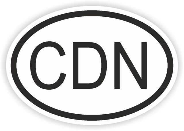 CDN Canada Country Code Oval Flag Bumper Water Proof Vinyl