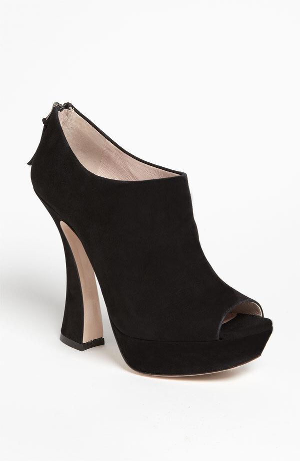 + Miu Miu Sz 39 Negro Cuero De Gamuza Peep Toe botaie botas Zapatos Taco Acampanada