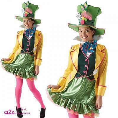 Womens Mad Hatter Official Disney Adult Fancy Dress Costume Halloween Book Day