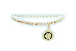 Women-Fashion-Belt-Gold-Metal-Chain-Link-Thin-belt-Lion-Charm-Gift-Style-M-L-XL