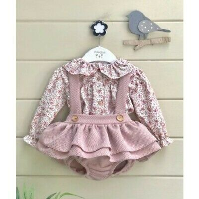 Baby Girls Spanish Style Dusky Pink White Bow Knitted Jumper /& Trousers Outfit