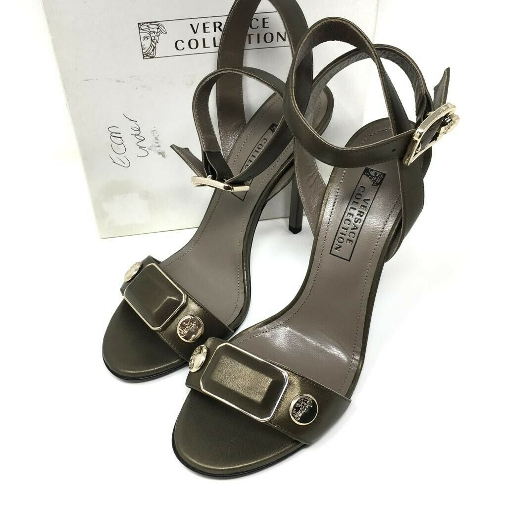 VERSACE COLLECTION Strappy Open Toes Heels - Olive -UK5  EU 38 -