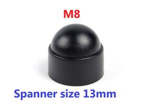 8mm White Domed Plastic Nut // Bolt Cover Caps 13MM Spanner Size M8 PK 200