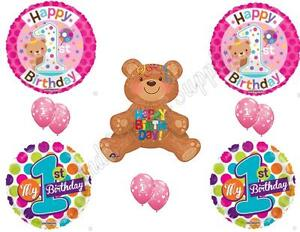 TEDDY BEAR 1ST BIRTHDAY GIRL Birthday Balloons Decoration Supplies