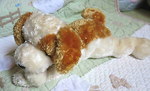 Ty Classic Stuffed Plush White Butterscotch Brown Puppy Dog SCRAPS 2001 16""