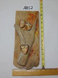 VINTAGE HAND MADE FOLK ART SIGNED HILDA DRIFTWOOD PAINTINGS-ROCKS OWLS-FLORIDA