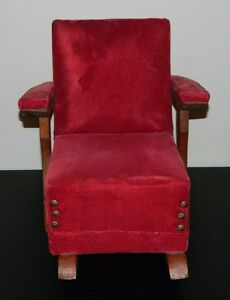 Vintage Doll Wooden Upholstered Rocking Chair Rocker Antique For