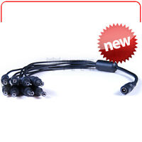 1 To 8 Ac Dc Power Supply Splitter Cable For Cctv Security Cameras 2.1mm 12v