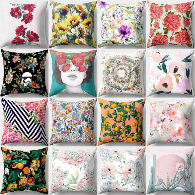 ITS- Modern Flower Print Pillow Case Sofa Waist Throw Cushion Cover Home Decor F