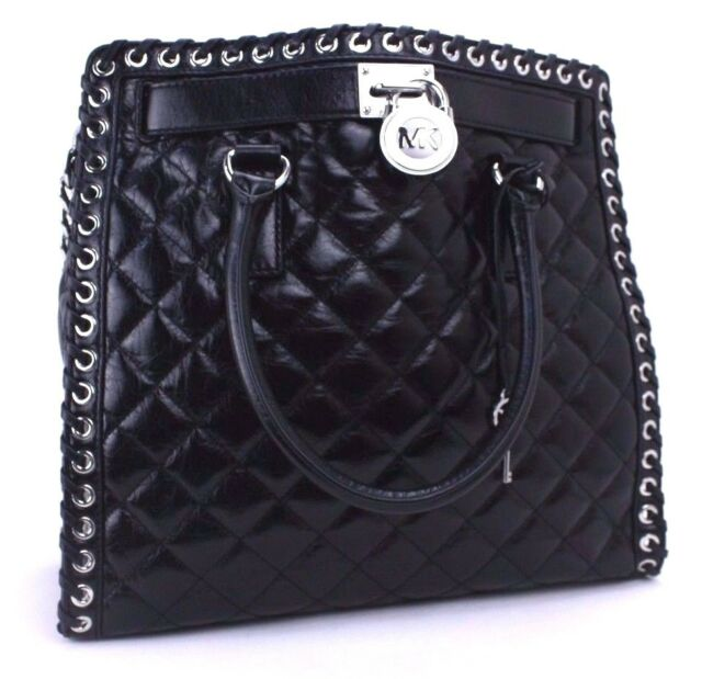 4ef15bacb1ec Michael Kors Authentic Hamilton Grommet Quilted Tote Black Leather ...