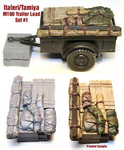 1-35-Scale-Resin-kit-M100-Tamiya-Italeri-Trailer-Load-1-WW2-jeep-stowage-set