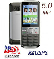 USPS Nokia Brand C5-00 5.0MP Camera Bluetooth FM Radio 3G Phone Unlocked Grey
