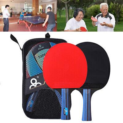 Short Handles Table Tennis Racket Ping Pong Paddle Bat 3 Balls Set 2Pcs Long